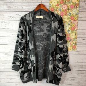 ZARA M Camouflage Gray Shawl Cardigan Army Trendy